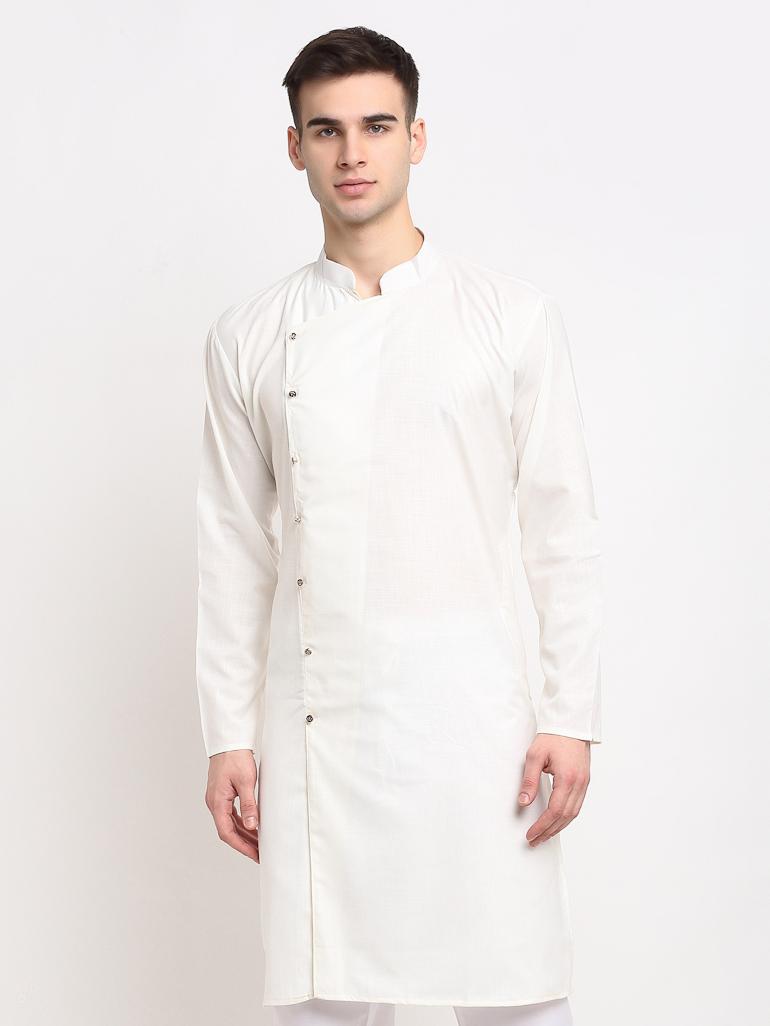 Jompers   Jompers® Men Off-White & White Solid Kurta