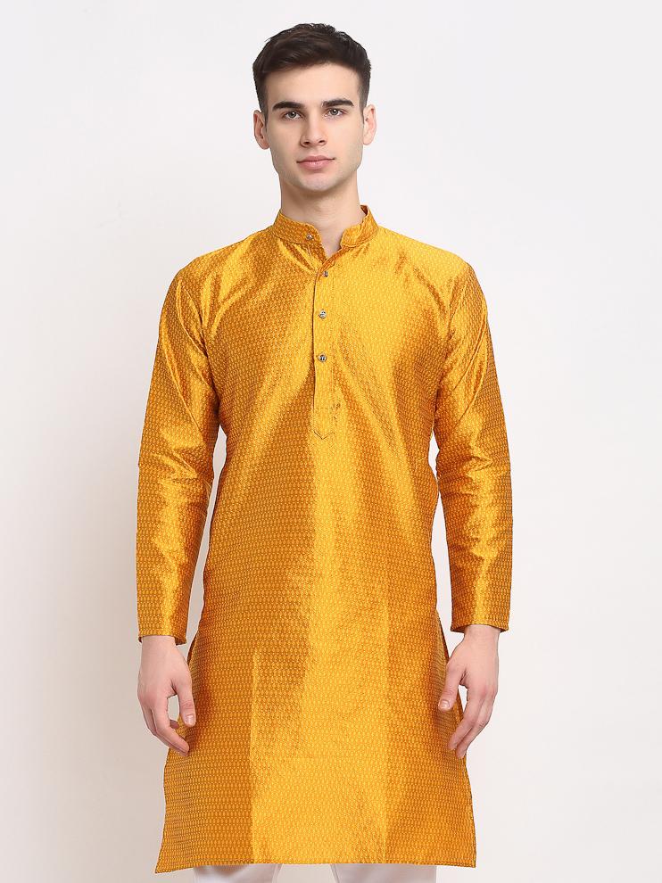 Jompers   Jompers® Men Yellow & White Woven Design Kurta