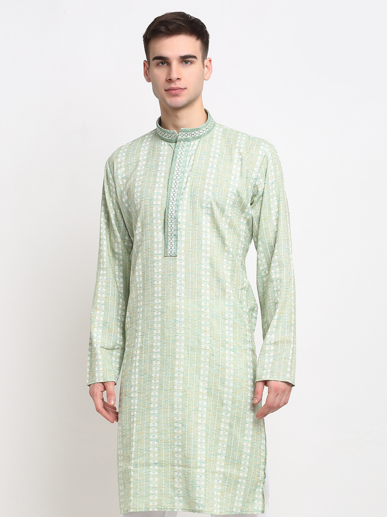 Jompers | Jompers® Men Green Ethnic Motifs Pure Cotton Kurta