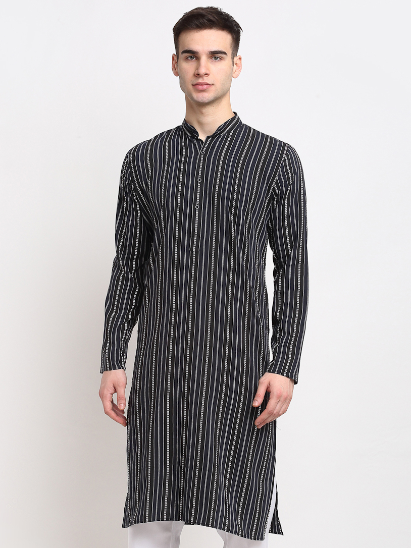 Jompers   Jompers® Men Black & White Striped Cotton Kurta