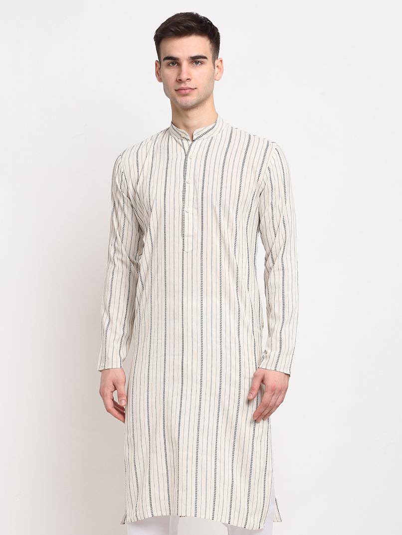 Jompers   Jompers® Men Cream & White Striped Cotton Kurta