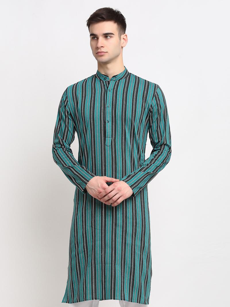 Jompers | Jompers® Men Green-Black & White Striped Cotton Kurta