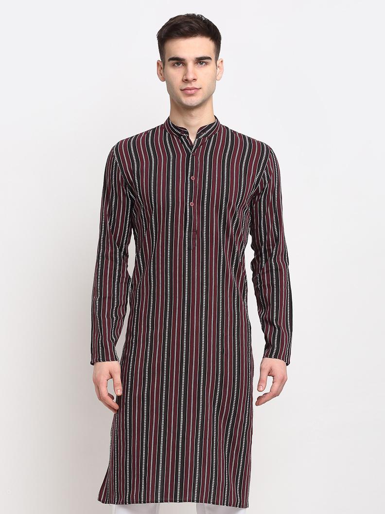 Jompers   Jompers® Men Maroon-Black & White Striped Cotton Kurta