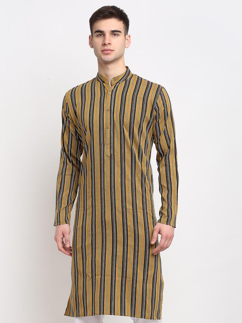 Jompers | Jompers® Men Mustard-Black & White Striped Cotton Kurta
