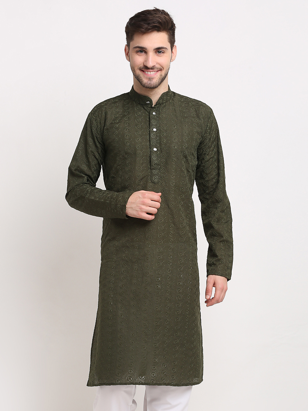 Jompers | Olive Green Embroidered Pure Cotton Kurtas
