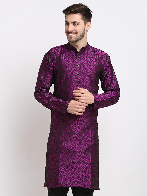 Jompers |  purple Woven Design Straight Kurta