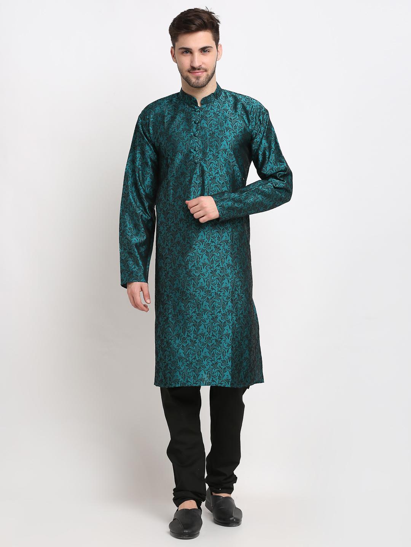 Jompers | Jompers Men Green & Black Self Design Kurta with Churidar