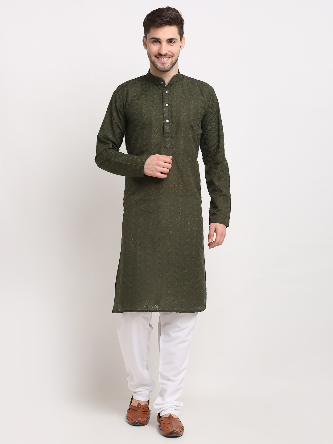 Jompers | Olive Green Embroidered  Pure Cotton Kurta with Churidar