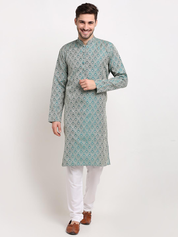 Jompers | Green Woven Design Straight Kurta with Churidar