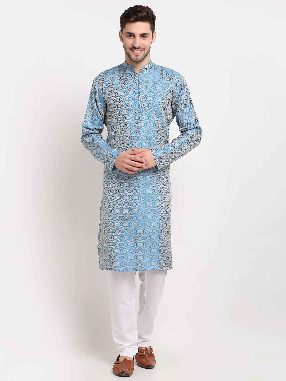 Jompers | Sky Blue Woven Design Straight Kurta with Churidar