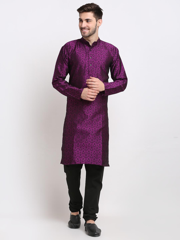 Jompers | Jompers Men Purple & Black Self Design Kurta with Churidar