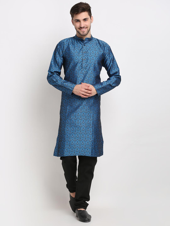 Jompers | Jompers Men Blue & Black Self Design Kurta with Churidar