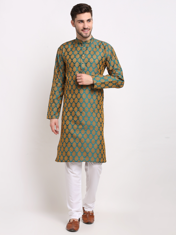 Jompers | Green & Off-White Woven Design Kurta with Churidar