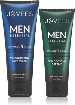 Jovees | JOVEES MEN ESSENTIAL ADVANCED 4 IN 1 MOISTURISING FACE WASH 100GM AND 60GM MEN ESSENTIAL ADVANCED 7 IN ONE SKIN BOOSTING CREAME  (2 Items)
