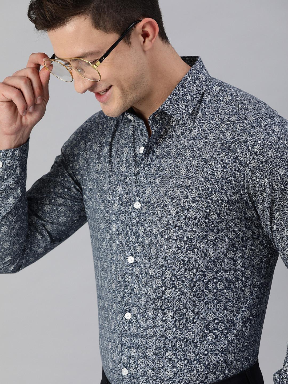 The Bear House | Men's Blue Printed Formal Shirt