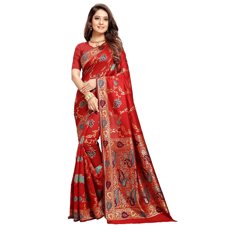 Poonam Textile Woven Banarasi Art Silk Saree (Red)