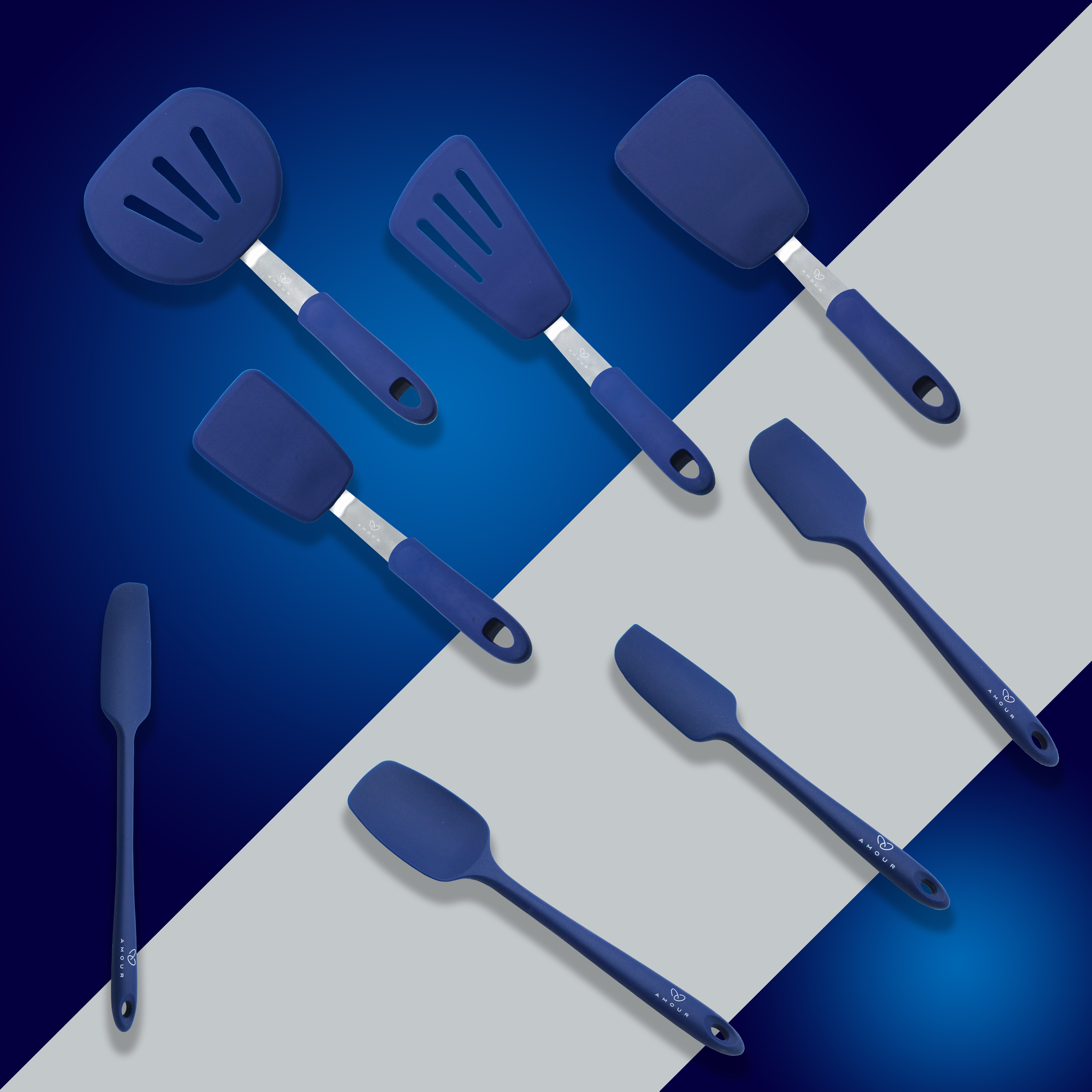 Amour | Amour Silicone Spatula Set - 8-piece 450oF Heat-Resistant Baking Spoon & Spatulas - Ergonomic Easy-to-Clean Seamless One-Piece Design - Nonstick - Dishwasher Safe - (Blue)