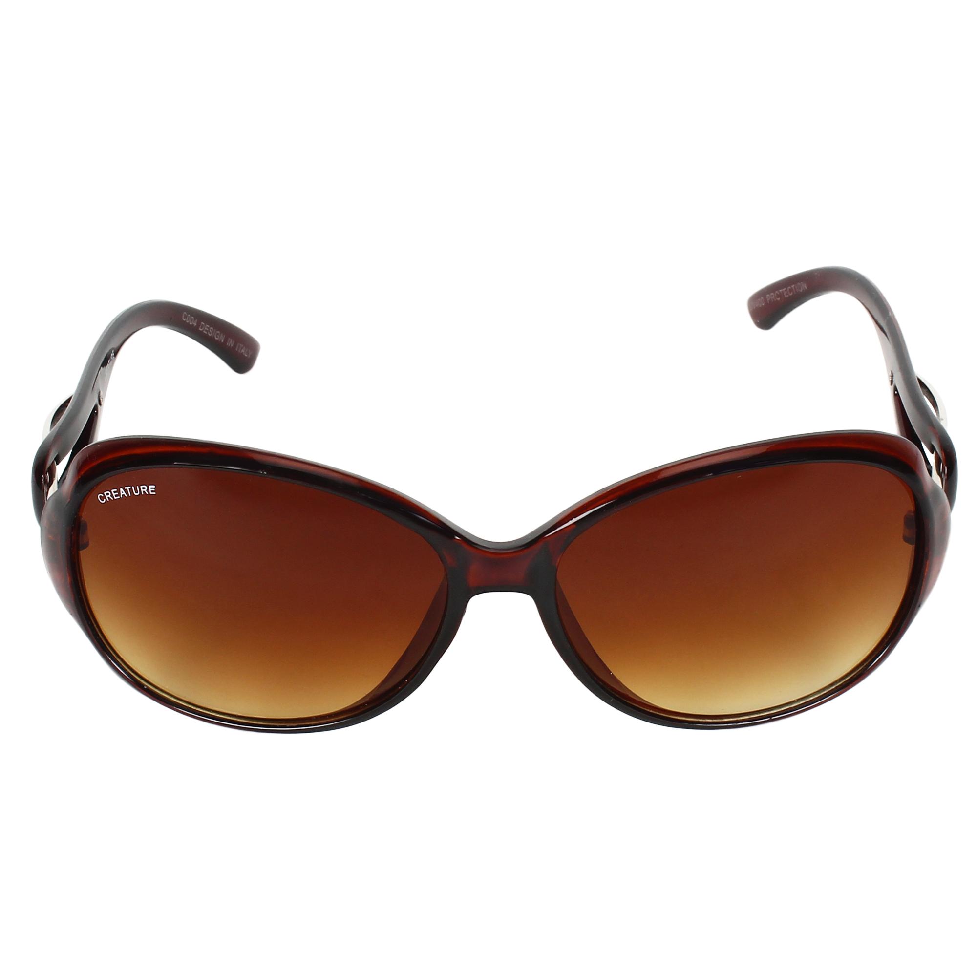 CREATURE | CREATURE Gaga Cat-Eye Oversized Sunglasses For Women (Lens-Brown|Frame-Brown)