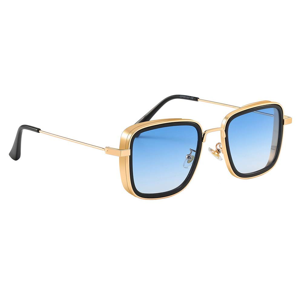 CREATURE | CREATURE Metal Body Lightweight Square Sunglasses For Men (Lens-Blue|Frame-Golden)