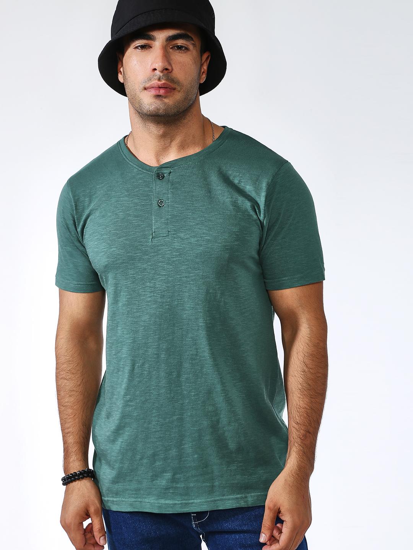 Blue Saint | Blue Saint Men's Green Skinny Fit T-Shirts