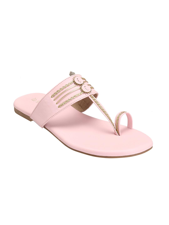 La Savie   Women Pink Braided Kolhapuri Flats