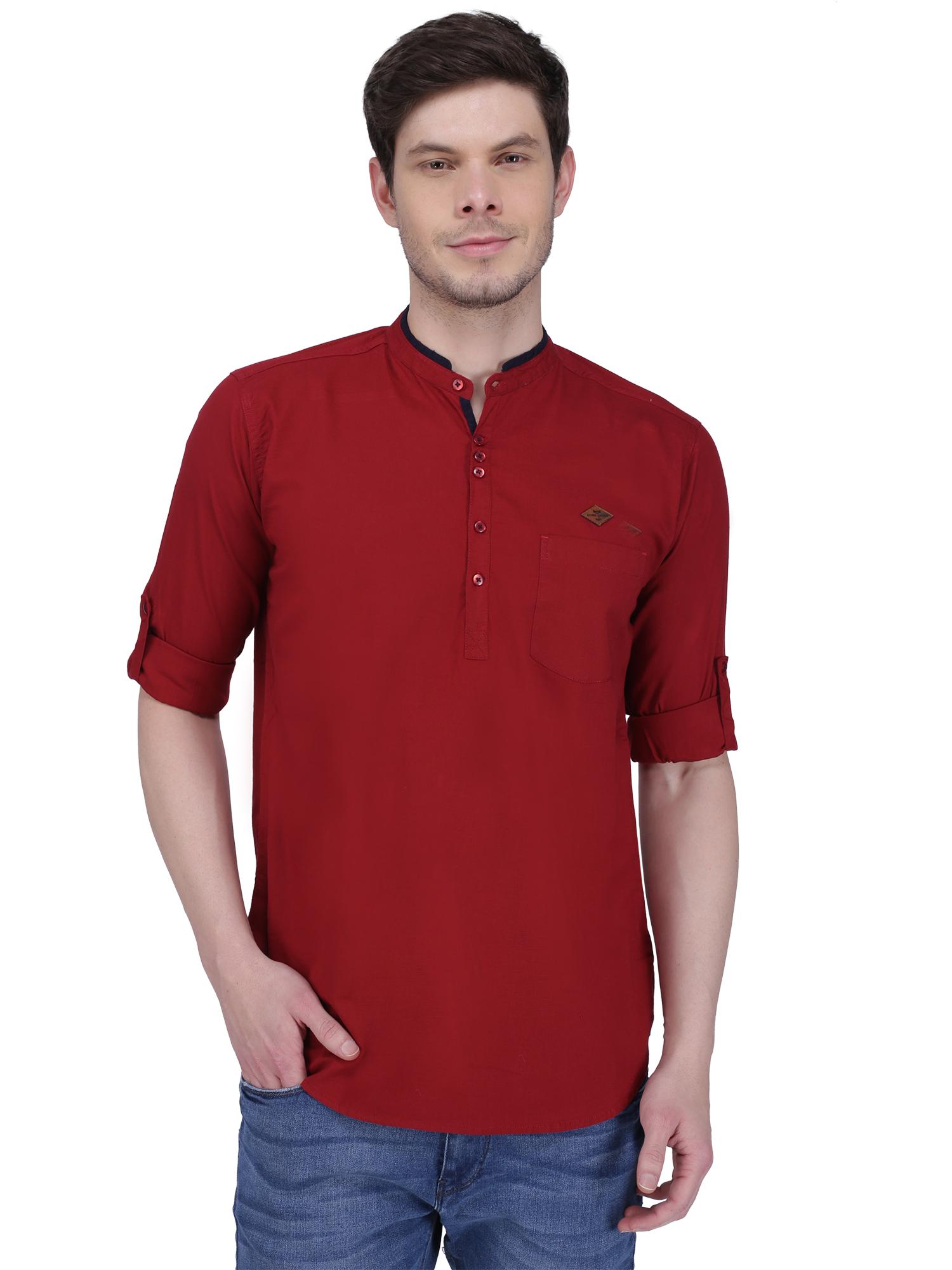 Kuons Avenue | Kuons Avenue Men's Maroon Linen Cotton Short Kurta- KACLFS1322MA