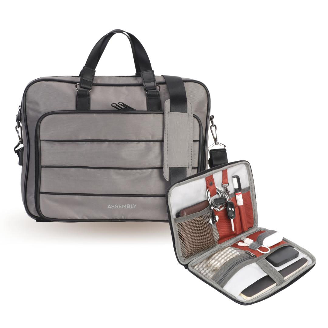 Assembly | Combo: Grey Messenger Laptop Bag with Gadget Organizer Tech Kit