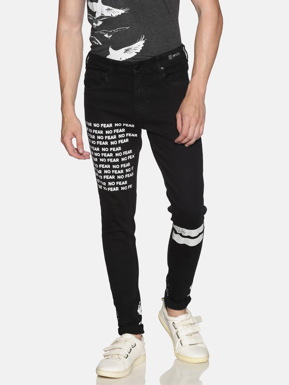 KULTPRIT | Kultprit Light Washed Skinny Fit Printed Jeans for Men