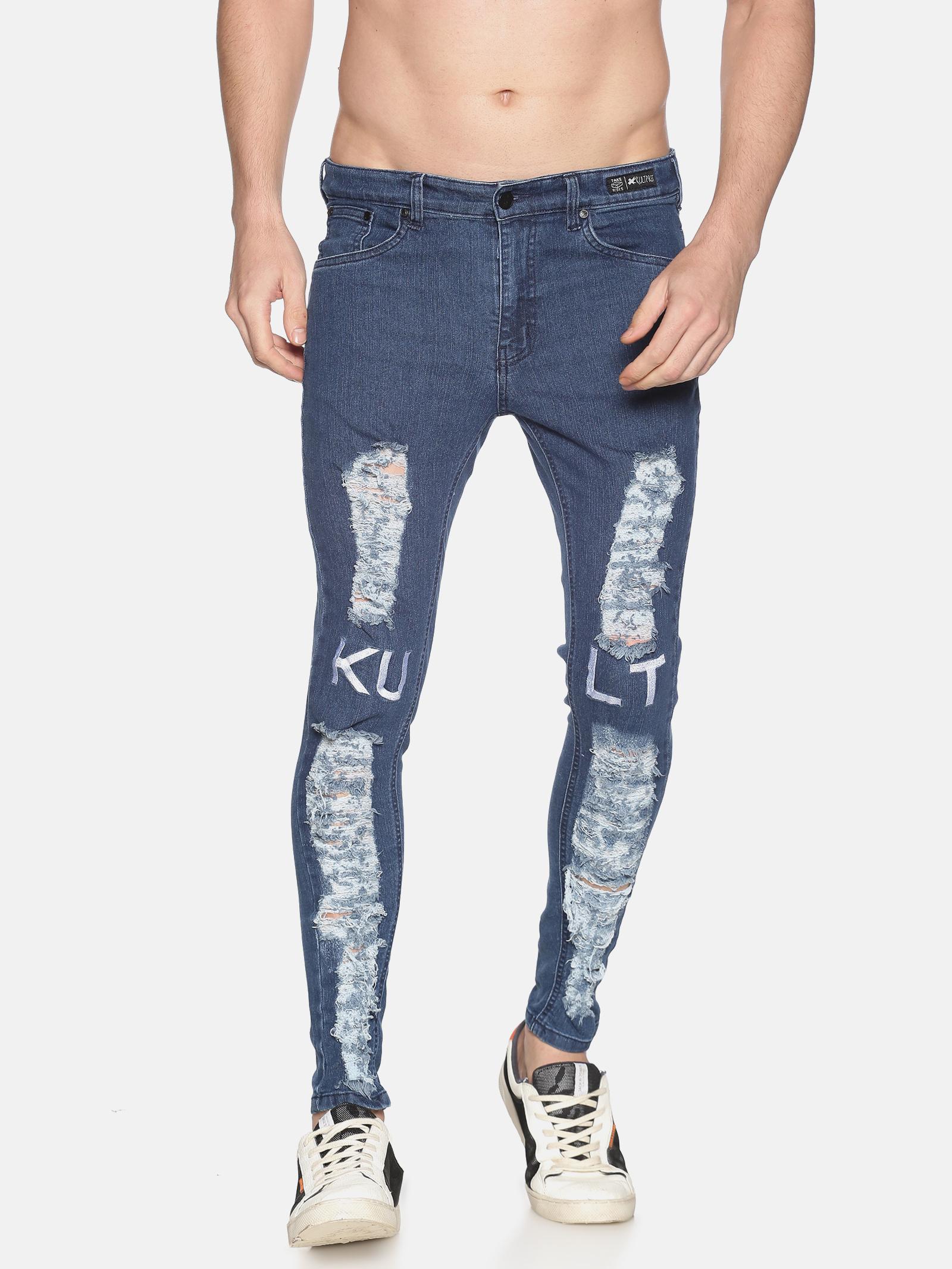 KULTPRIT | Denim Medium Washed Skinny Fit 5 Pockets Printed Jeans for Men