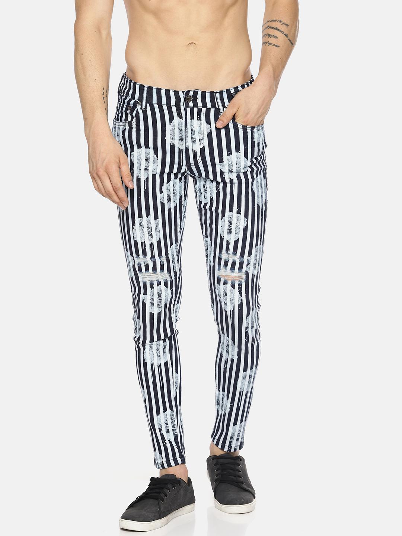 KULTPRIT | Stripe Overdyed Floral Print Jeans
