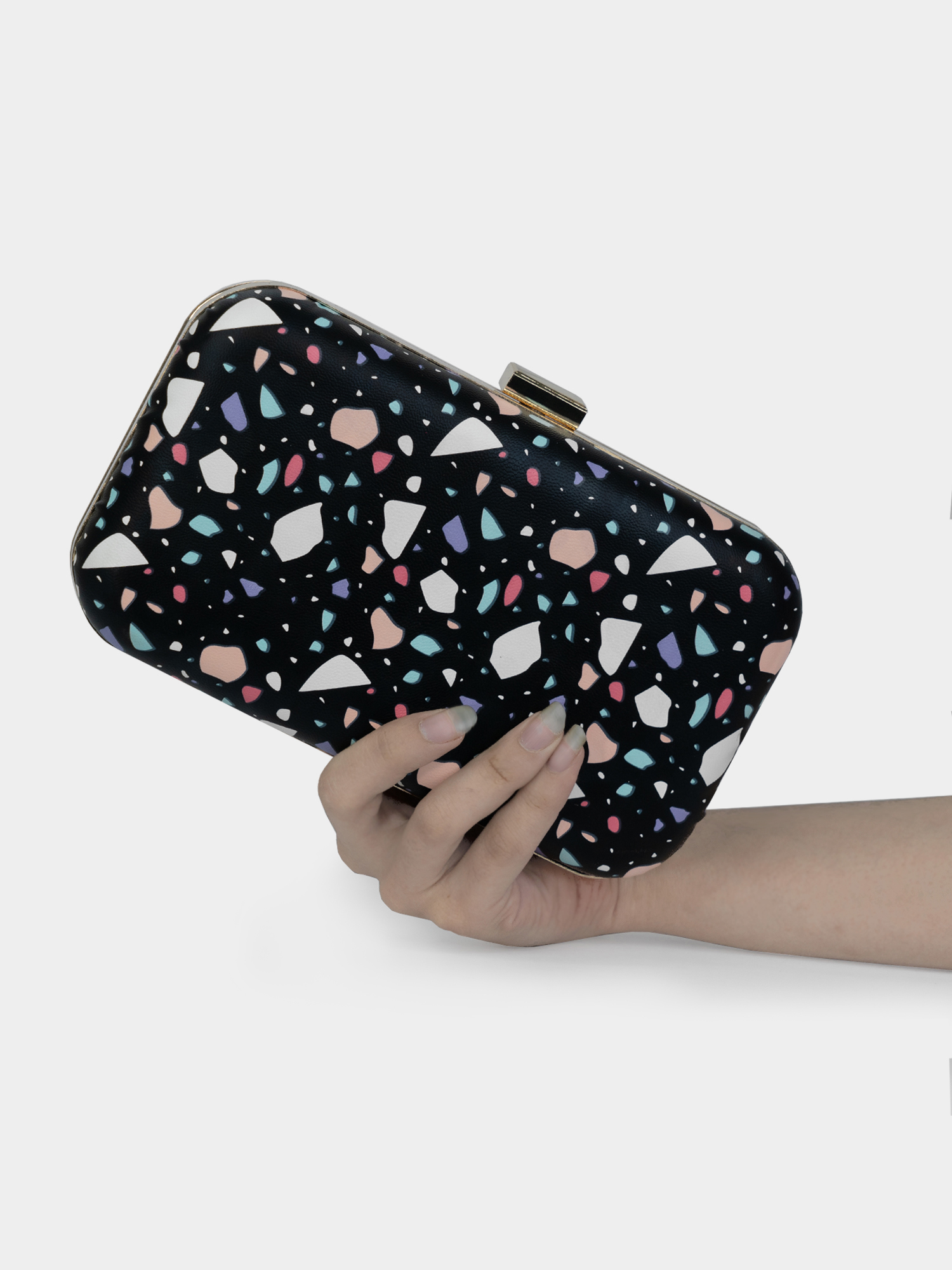 Modern Myth   Arm Candy! Abstract Modern Black Printed Party Clutch