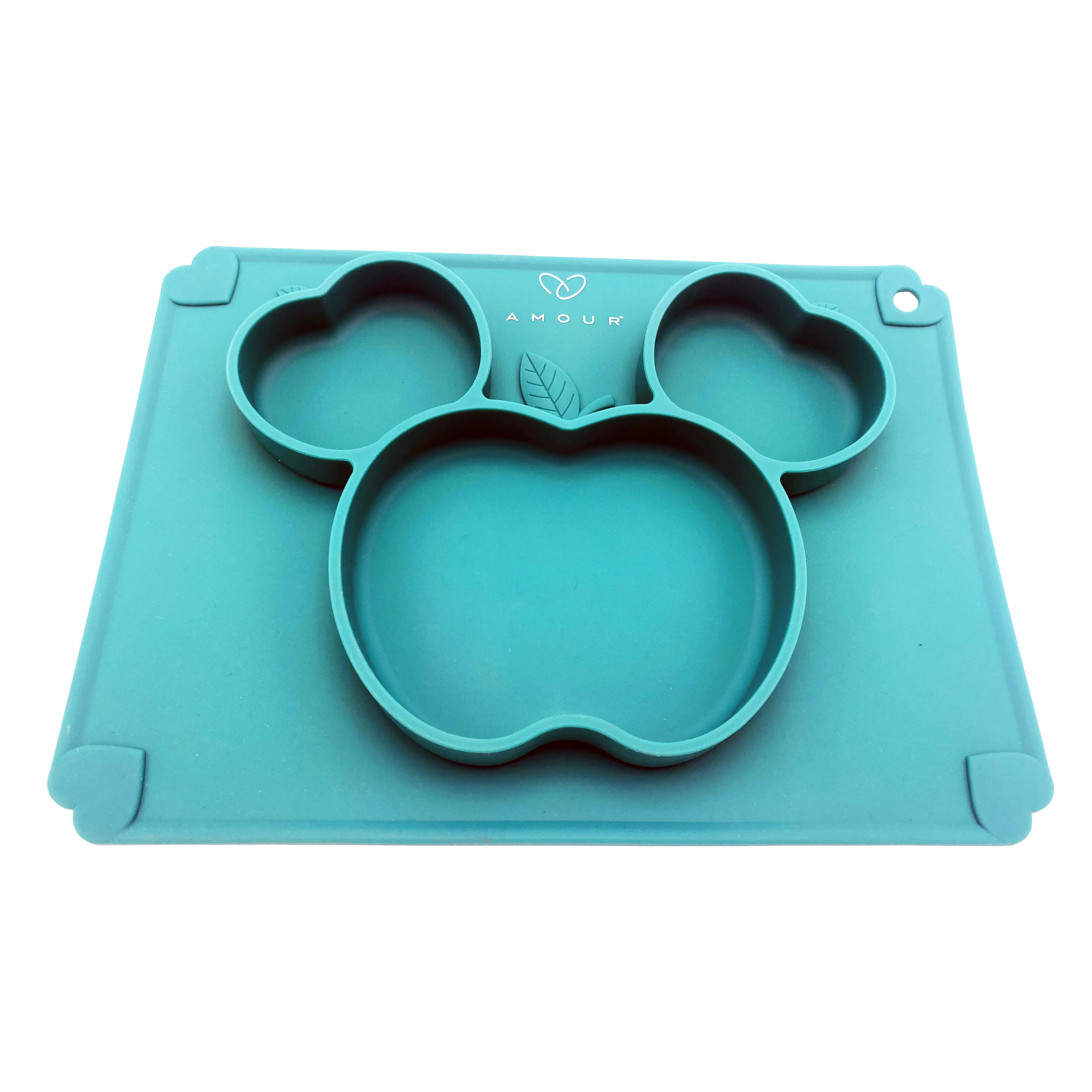 Amour   Amour Silicone Grip Self Feeding Dish, Suction Plate, Baby Toddler Plate (Green)