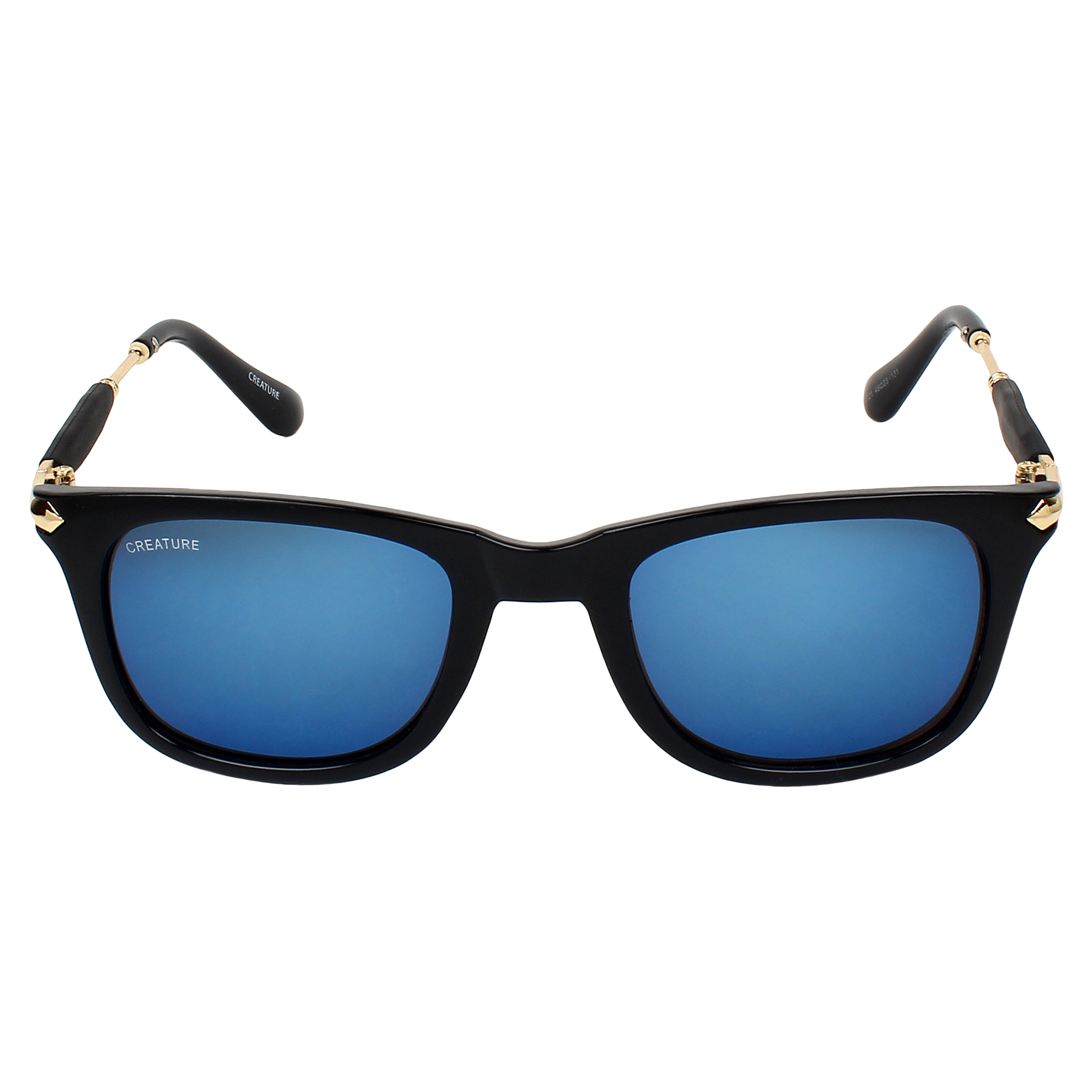 CREATURE | CREATURE Black Gloss Finish UV Protected Unisex Sunglasses (Lens-Blue|Frame-Black)