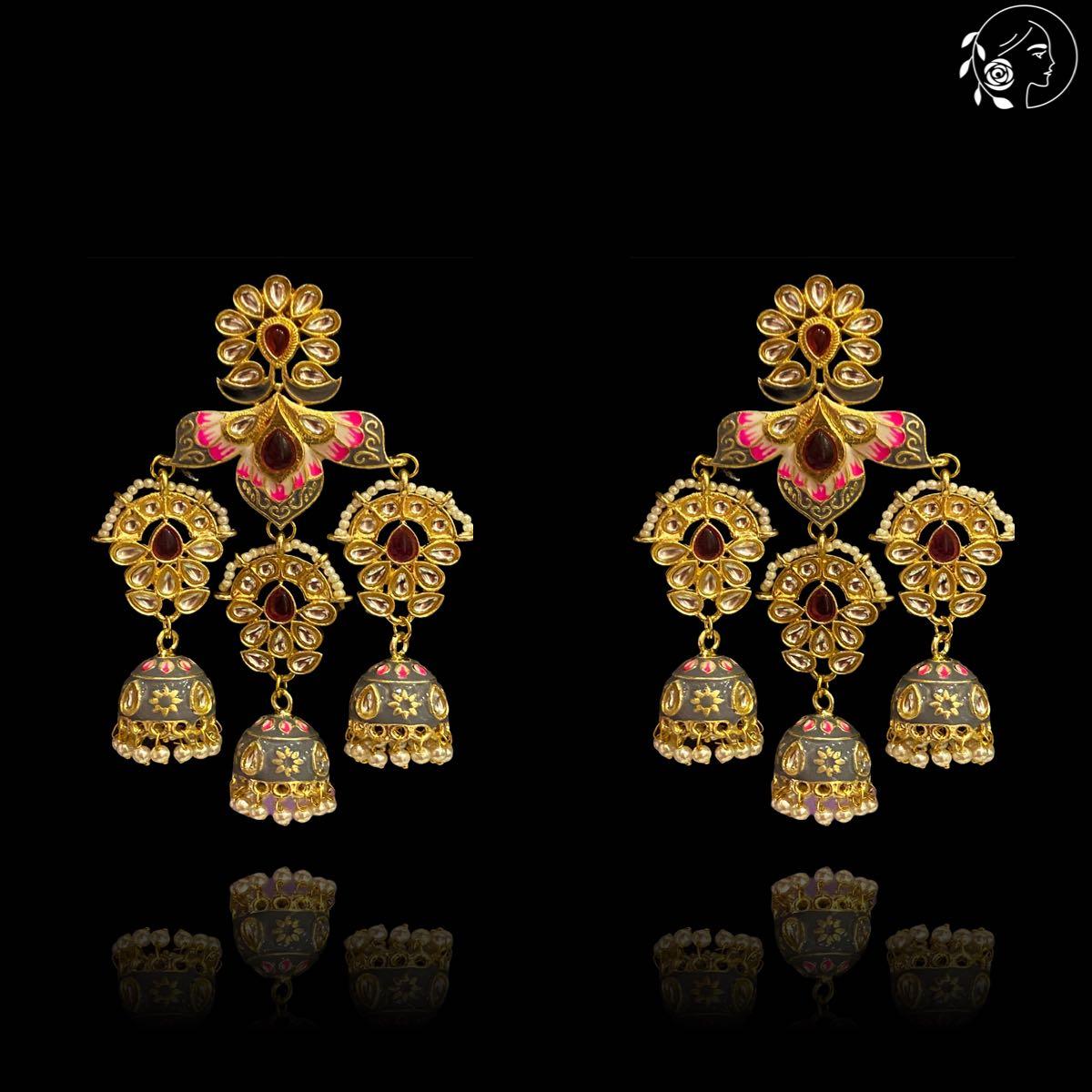 Swabhimann Jewellery   Swabhimann Ameena Flower Jhumki Grey