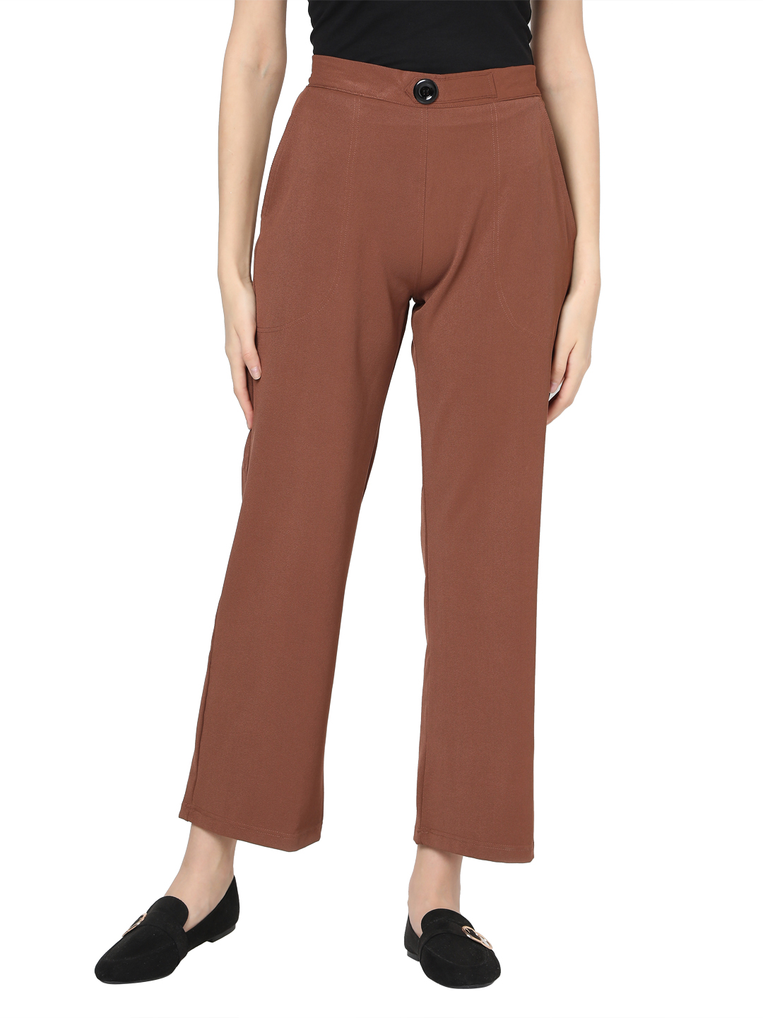 Smarty Pants | Smarty pants women's cotton stretchable brown ankle length flared trouser