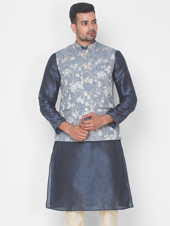 Ethnicity | Blue jacquard sleeveless jacket