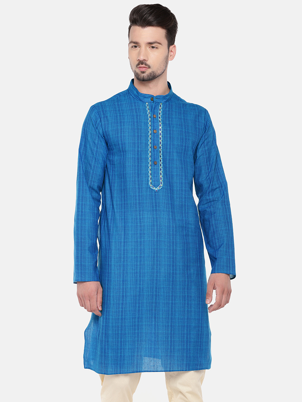 Ethnicity | Ethnicity Blue Cotton Blend Men Kurta