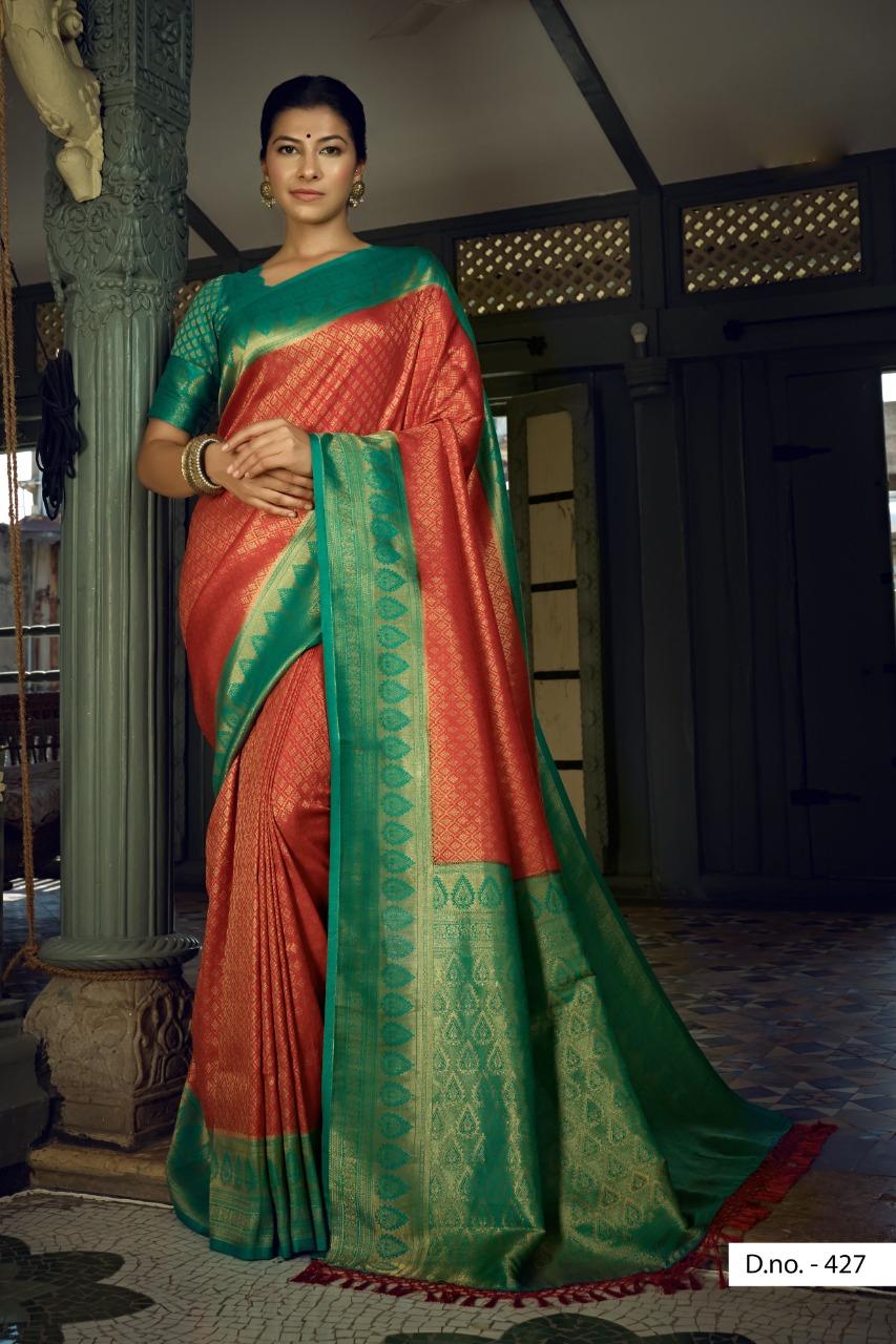 POONAM TEXTILE   Hypnotic Red Colored Festive Wear Woven Pure Silk Saree