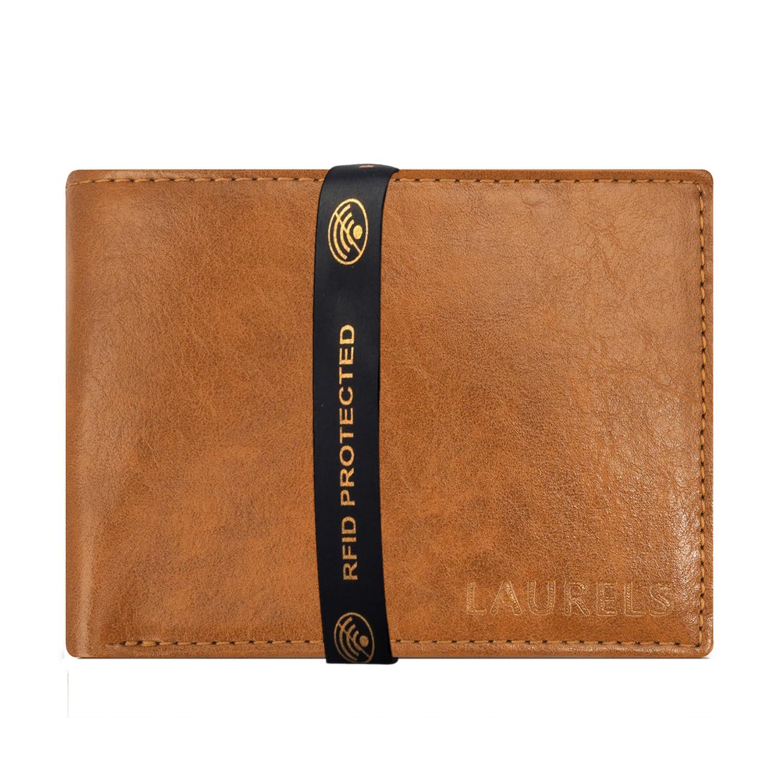 Laurels | Laurels Aspire Tan Vegan Leather Men Wallet With RFID Protection.
