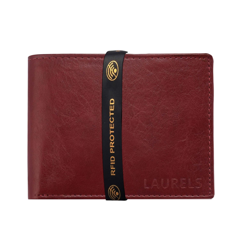 Laurels   Laurels Aspire Red Vegan Leather Men Wallet With RFID Protection.