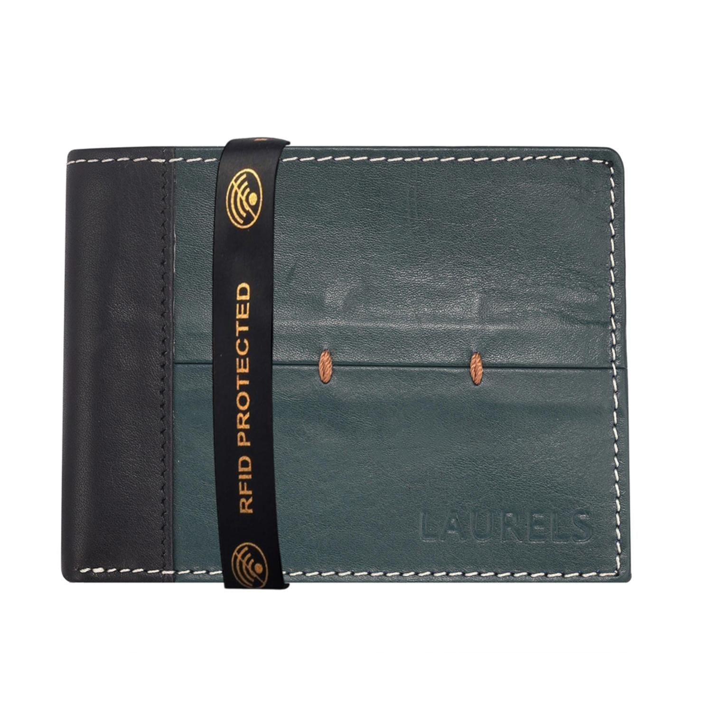 Laurels   Laurels Bloke Green Genuine Leather Men Wallet With RFID Protection.