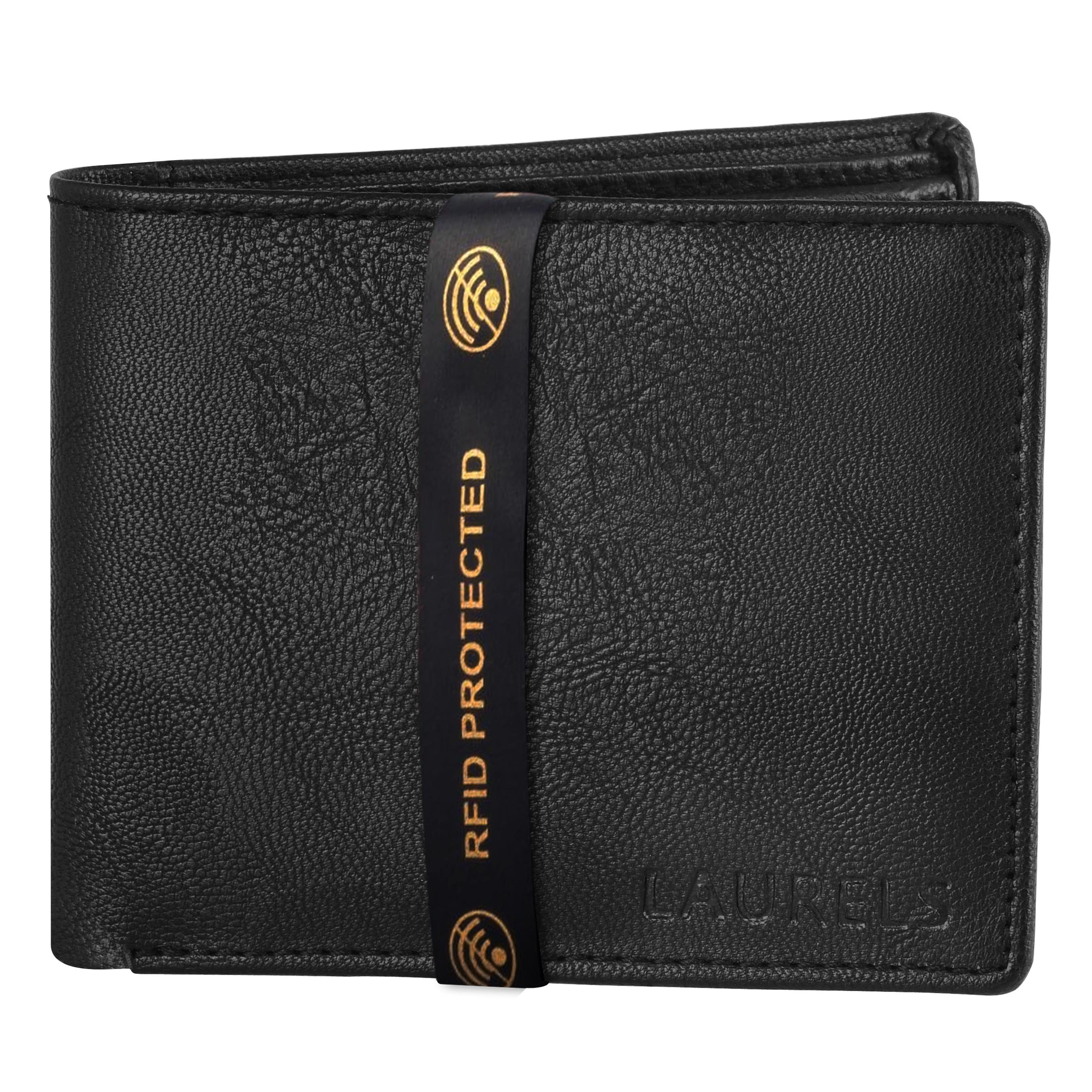 Laurels | Laurels Brye Black Vegan Leather Men Wallet With RFID Protection.