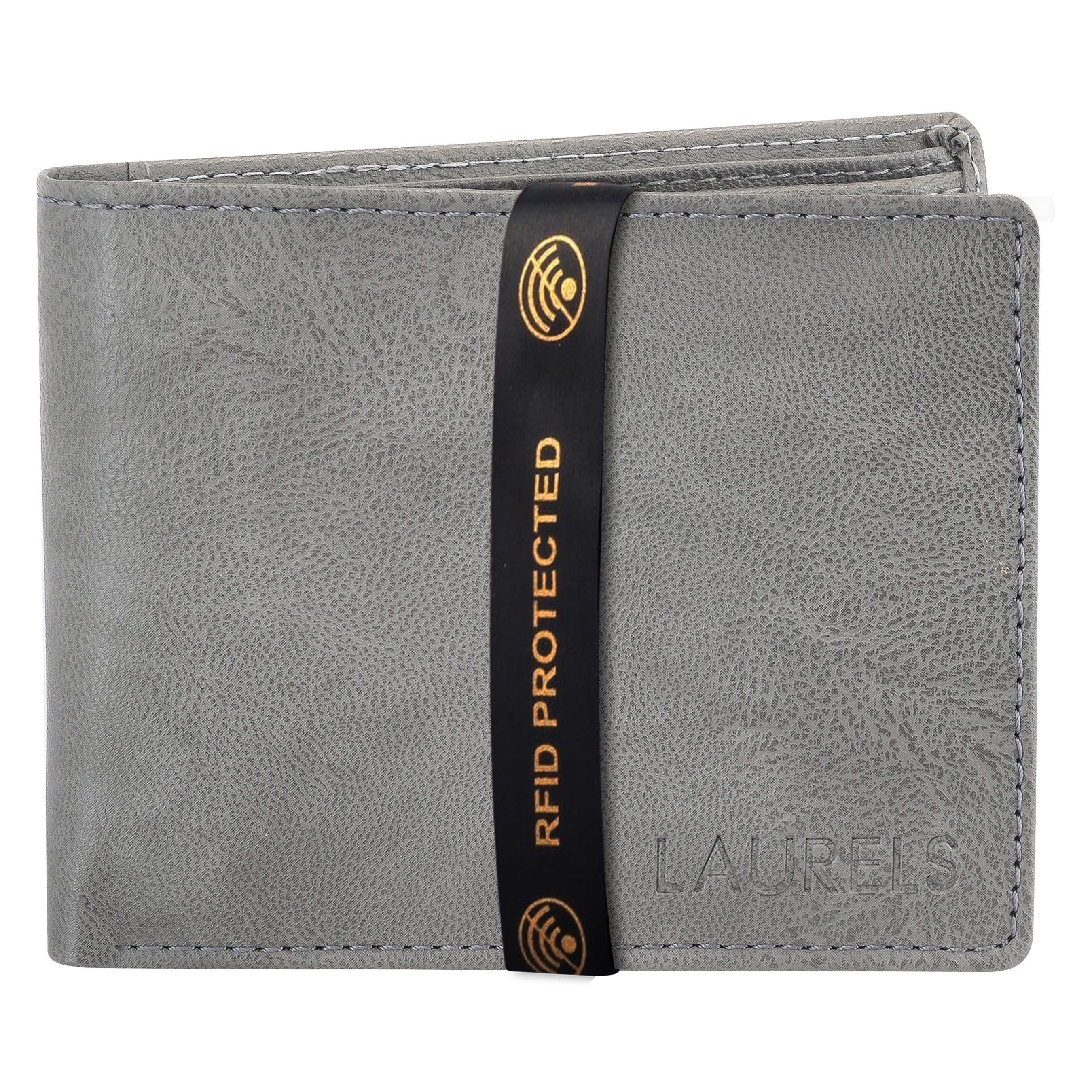 Laurels | Laurels Brye Grey Vegan Leather Men Wallet With RFID Protection.