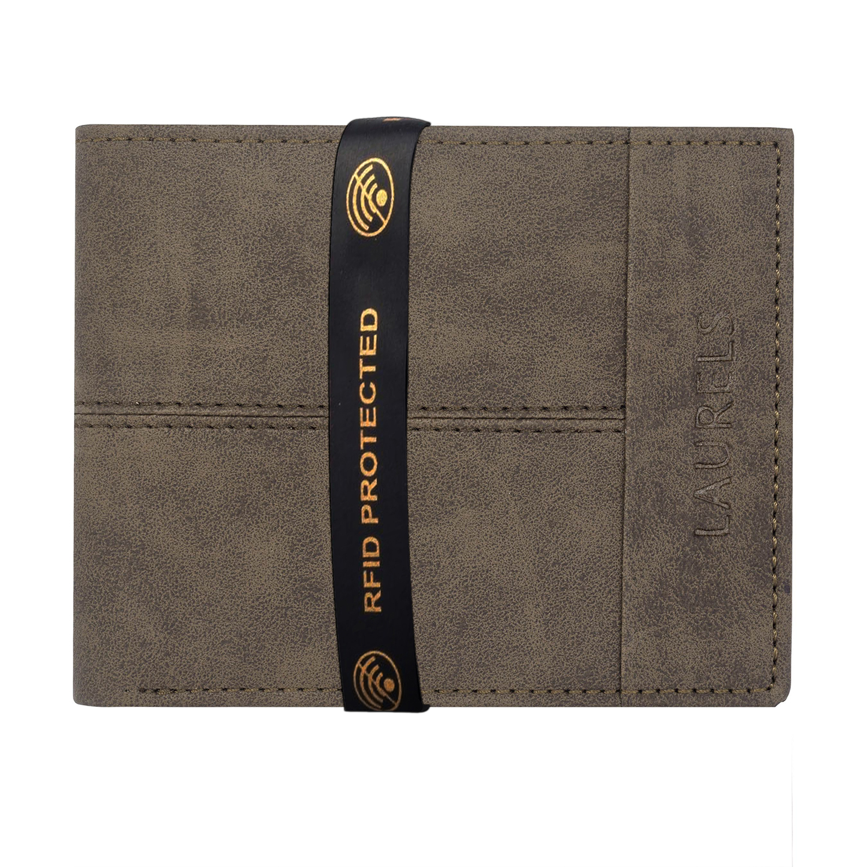Laurels | Laurels Rugg Brown Vegan Leather Men Wallet With RFID Protection.