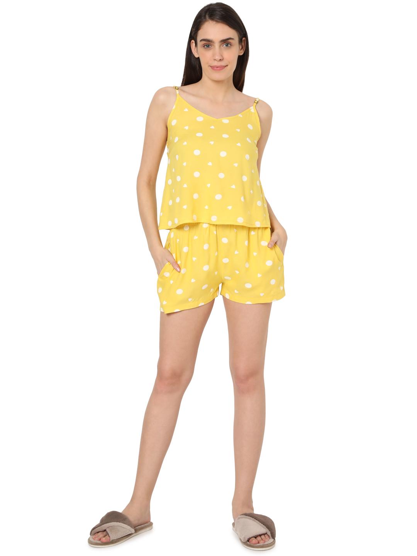 Smarty Pants   Smarty Pants women's cotton pastel yellow color heart & polka dot print night suit