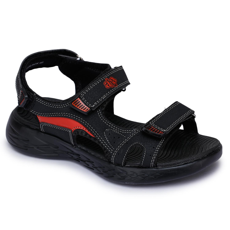 Liberty | Liberty A-HA Black Casual Sandals IMPACT-9_Black For - Men