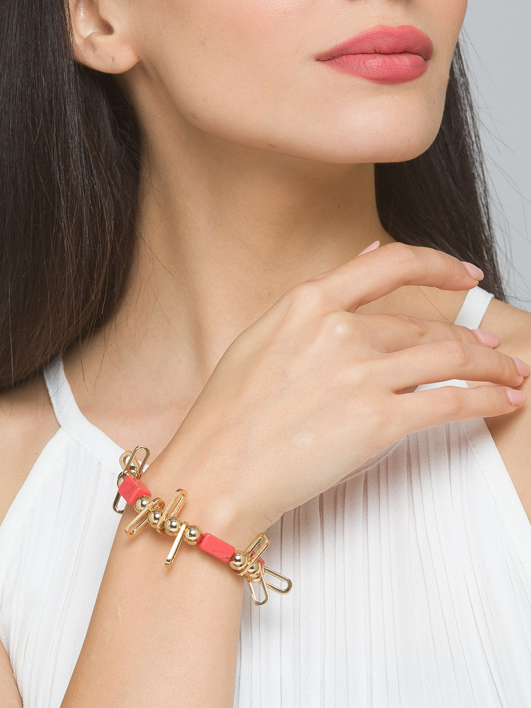 Lilly & sparkle | Lilly & Sparkle Alloy Gold Toned Orange Beaded Elasticated Bracelet for Women