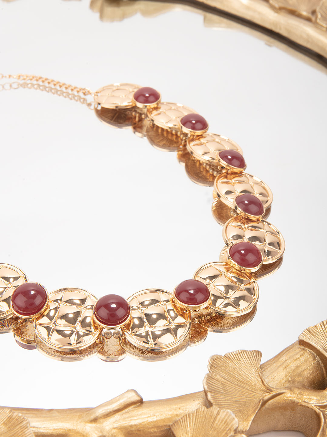 Lilly & sparkle | Lilly & Sparkle Alloy Gold Toned Candy Artificial Beads Statement Necklace for Women - Red