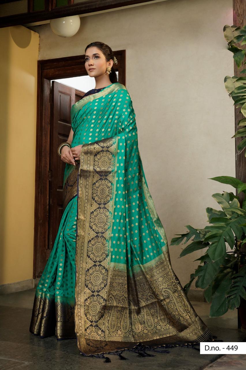 POONAM TEXTILE   Stunning Turquoise Festive Wear Woven Raw Silk Saree