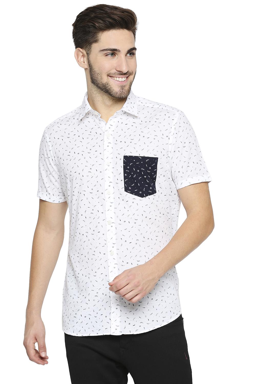 EVOQ | EVOQ Half Sleeves Cotton White Printed Semi-Casual Shirt with Stylish Pocket for Men